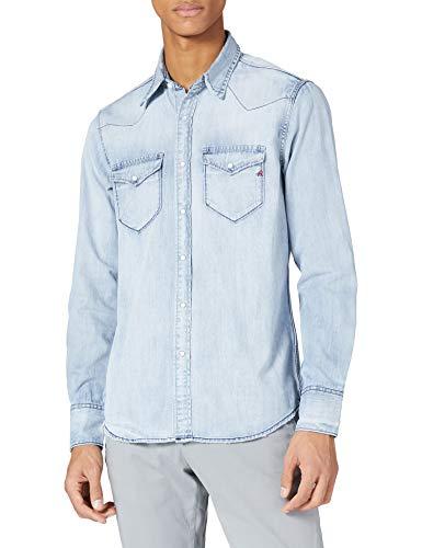REPLAY M4981 Camisa, 010 Azul Claro, M para Hombre