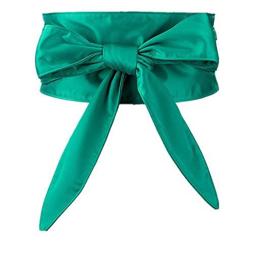 Einfache und elegante Dekoration Damen Krawattengurte Schleife Satin Stoff Gürtel dekorative Hemdkleid Gürtel grün 65-85cm