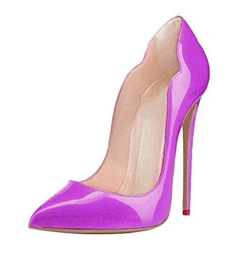 EDEFS Damenschuhe Übergröße High Heels Pointed Toe Stilettos Pumps Schuhe Lila EU43