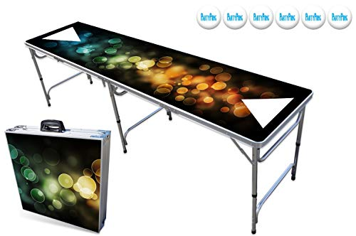 Best Review Of PartyPongTables.com 8-Foot Beer Pong Table with Cup Holes and LED Lights - Color Spec...
