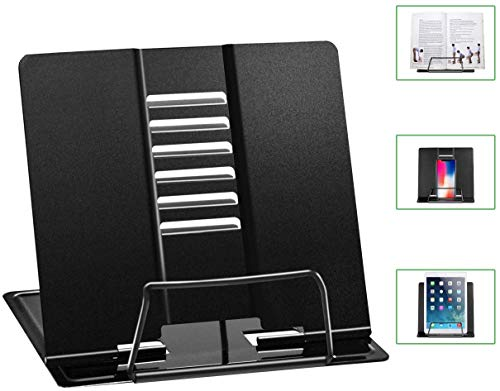 NEAR STOP Desk Book Stand Holders for Reading Hands Free, Durable Metal Adjustable Book Stand, Sturdy Lightweight Foldable Portable Bookstand -Textbook, Recipe, Magazine, Tablet, Music Book (Black)