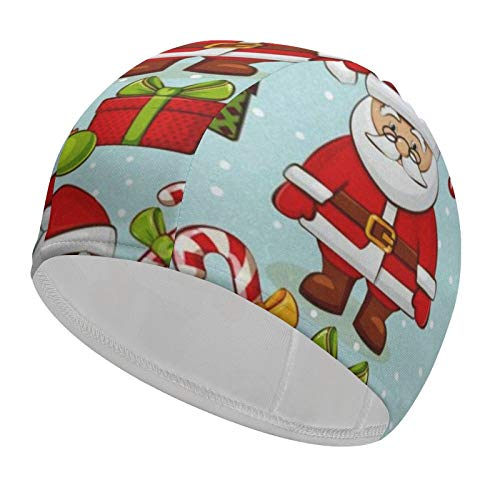 Swim Cap for Ladies Men Christmas Santa 92% Polyester+8% Spandex Comfortable Swimming Hat Cover Ears Bathing Cap for Long Hair or Short Hair