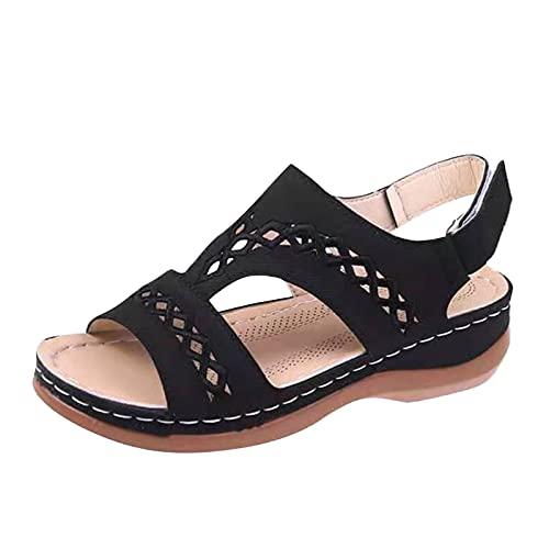 Eaylis Damen Mode aushöhlen Wedges Schuhe Strand Peep Toe Atmungsaktive Sandalen, Plateau Keilsandalen Sandaletten Keilabsatz Sommerschuhe Flatform Slingback Flops Bohemian Sandalen