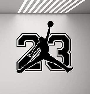CarolGreyDecals Michael Jordan Sign Wall Decal Sport 23 Air Jordan Jumpman Decal Basketball Poster Stencil Gym Wall Vinyl Sticker Kids Teen Boy Room Nursery Bedroom Wall Art Decor Mural 847