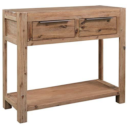 vidaXL Bois d'Acacia Massif Table Console Table d'Entrée avec 2 Tiroirs et 1 Etagère Table de Salon Table de Couloir Intérieur Salle de Séjour Maison 82x33x73 cm