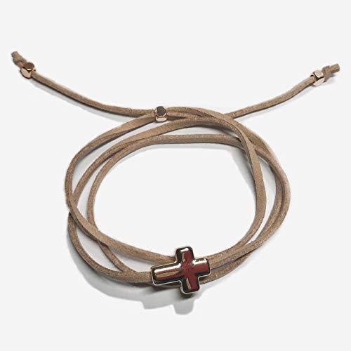 Christian cross bracelet, wrap bracelets for women, Christian gifts for women bracelets, latte