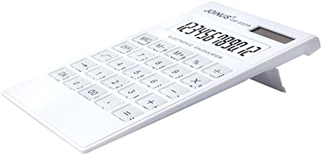 Calculator, 12-Digit Widescreen Display Calculator, Office Business Calculator, Solar and Battery -White