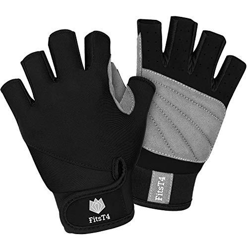 FitsT4 Ruderhandschuhe 3/4 Finger gepolsterte Anti-Rutsch-Handschuhe zum Wasserski Kanufahren, Windsurfen, Kiteboarding, Segeln, Kajakfahren, SUP Stehpaddeln – für Männer Frauen und Kinder