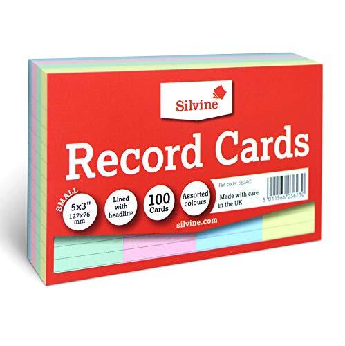 Silvine 15 x 3 cm wielokolorowy rekordowy - wyłożony nagłówkiem, 100 kart w opakowaniu. Ref 553AC (127 x 76 mm)