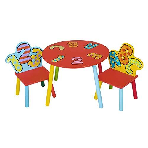 WCJ Verse en mooie Kinderen Houten Ronde Tafel En 2 Letter Stoelen, Kinderen Activiteit Tafel, Eettafel, Game Study Tafel