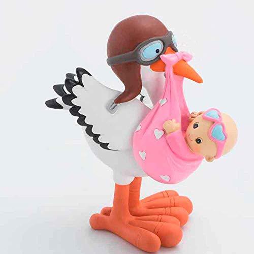 Muñeco para la tarta figura cigüeña con niña gafas rosas. Figura o muñecos para la tarta Bebé