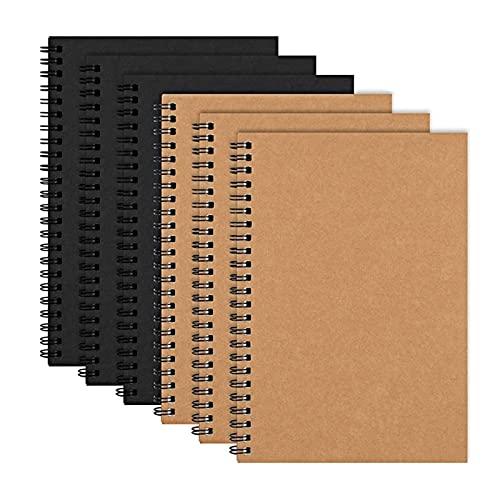 LVTONG Libros de Dibujo 6 Pack A5 Soft Cover Spiral Diario de Cuaderno, Libro en Blanco Sketch Pad Diario Planeador de Cuaderno con Papel en Blanco Libro de Dibujo (Color : Black Brown)