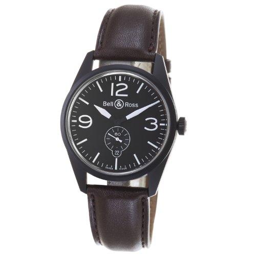 Bell & Ross BR123-ORIGINAL Carbon Reloj Vintage Negro y Correa marrón para Hombre