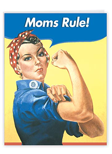 Moms Rule - Happy Mother�s Day Card with Envelope (Large 8.5 x 11 Inch) - Retro, Playful Mothers Day Greeting Card for Mother, Mom - Personalized Classic Stationery Notecard J0096