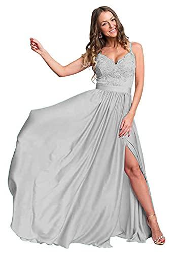 Carnivalprom Vestido de noche largo con tiras para mujer, para bailes de graduación, apliques plata 38