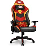 Marvel Avengers Massage Gaming Chair Desk Office Computer Racing Chairs - Adults Gamer Ergonomic Game Reclining High Back Support Racer Leather (Iron Man, Red)