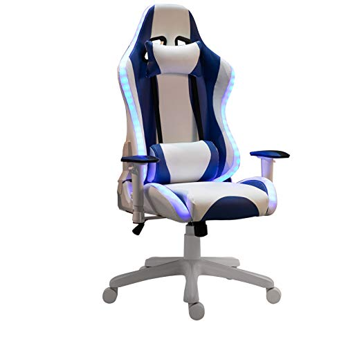 Vinsetto LED Light Racing Chair Ergonomic PU Leather Thick Padding High Back w/Removable Pillows Adjustable Height 5 Wheels 360° Swivel Rocking Gaming Chair White Blue