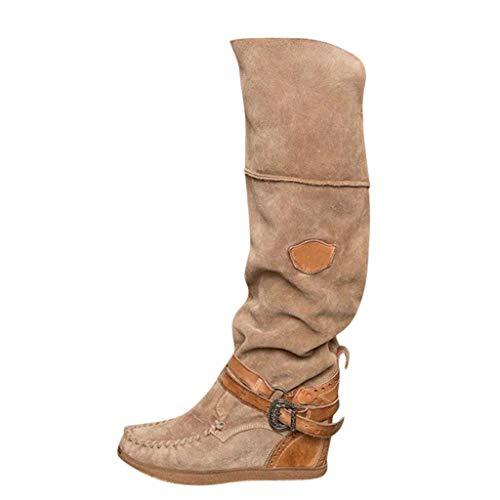 Donna Tacco Allungare Lungo sopra Il Ginocchio Equitazione vestibilità Ampia Alto Stivali Lunghi Casual Shoes (39 EU,Marrone)