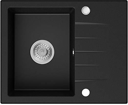 Fregadero de Granito Negro, 58,5 x 46,5 cm, Lavabo Cocina Un Seno + Sifón Clásico, Fregadero Empotrado de Primagran