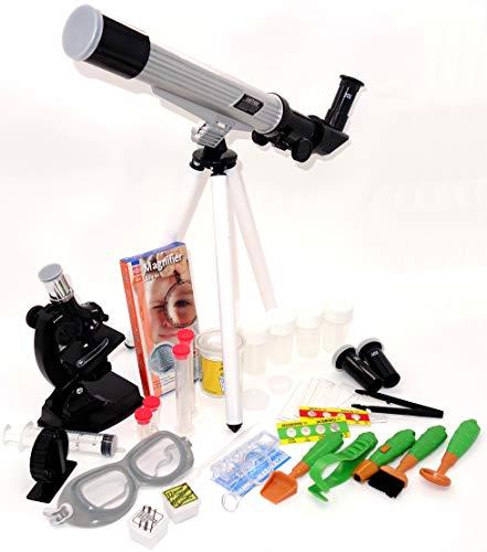EDU-TOYS Teleskop und Mikroskop Set für den Einstieg in Kosmos und Mikrokosmos mit Outdoor Zubehör und Becherlupe