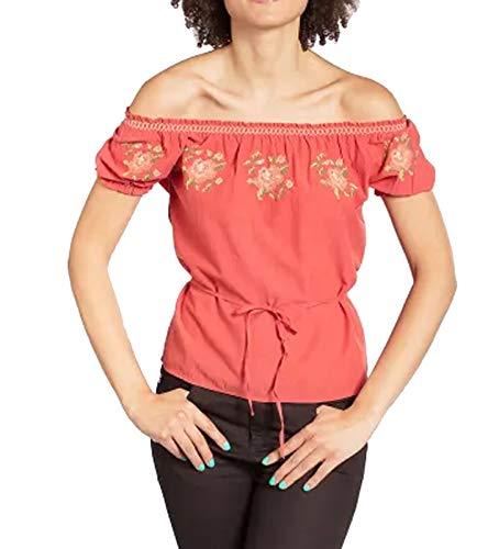 Blutsgeschwister Pennys Blouse Carmen-Bluse modische Damen Tunika Sommer-Shirt Blüschen Rot, Größe:XL