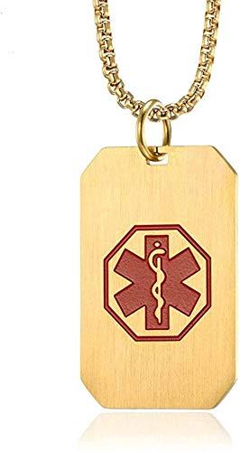 WYDSFWL Collar de identificación de Alerta médica, Collar de Perro Tarkey T para Hombres, Cadena de Acero Inoxidable, joyería Masculina de Emergencia SOS