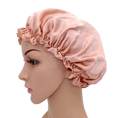 WJH Sleeping Naturel Soie de mûrier Bonnet de Nuit Bonnet Chapeau Head Couverture pour Beauty Hair avec Bande élastique pour Cheveux Perte de Sommeil Protection des Cheveux (2 pièces),Flesh