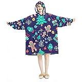Sudadera con capucha, casual de microfibra suave, camisón cálido para hombres y mujeres, con diseño de árbol de Navidad morado y pan de jengibre
