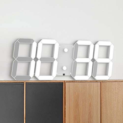 CHKOSDA Reloj de Pared Digital LED silencioso con diseño 3D con Control Remoto, Calendario y termómetro, Cuenta Arriba, Temporizador (Blanco)