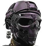 AQzxdc Equipo de Cascos Tácticos Rápidos, con Máscara Calavera Facial de Protección Completa y...