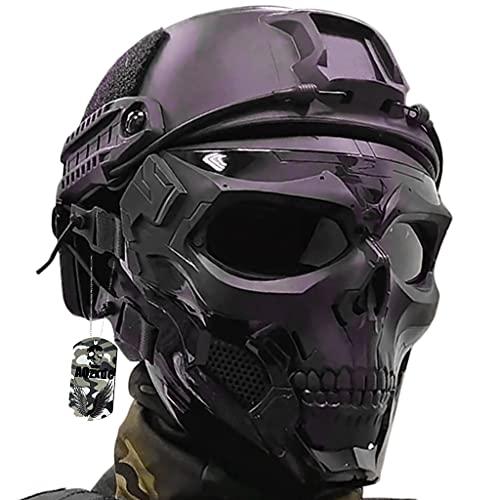 AQzxdc Equipo de Cascos Tácticos Rápidos, con Máscara Calavera Facial de Protección Completa y Linterna, Juego Montaje NVG, para Airsoft Paintball, Halloween, Cosplay,Sets a