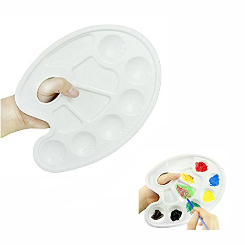 Honbay Plastic Artist Paint Tray Palette with 10-Well Thumb Hole - Pack of 3