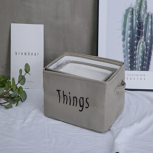 CNYG Caja de Almacenamiento de Escritorio de Tela Plegable con Asas Cesta de Almacenamiento de Caja de artículos Diversos de cosméticos de Ropa Gris 40 * 27 * 19cm