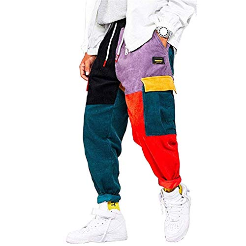 Astellarie Men?s Hip hop Harem Pants Color Patchwork Streetwear Cargo Pants Casual Running Sport Drawstring Long Pants (30-32 Inch,Style 1)
