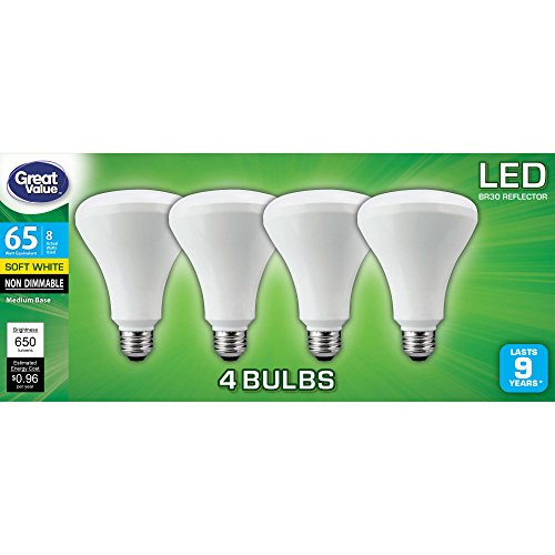 Great Value LED Reflector, 8W, Soft White, 4 Count
