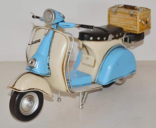 JS GartenDeko Blechmodell Roller Nostalgie Modellauto Oldtimer Marke Vespa Motorroller Modell aus Blech L 33 cm