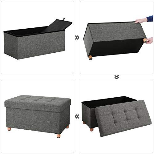 SONGMICS Sitztruhe Sitzhocker Fußhocker mit Stauraum und Deckel mit Holzfüßen, 76 x 38 x 40 cm dunkelgrau LSF16GYZ - 7
