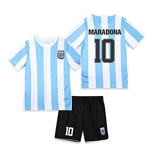 CWWAP Retro 1986 Argentinien Fußballuniform Maradona 10 Dybala 21 Fußballtrikot Otamendi 17 Di Maria 11 Fußballtrikot-Kits für Unisex Erwachsene Kinder-No.10-24
