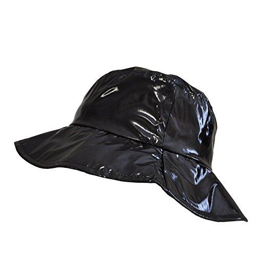 TOUTACOO, Cappello da Pioggia, Cappellino da Donna in Vinile .Nero