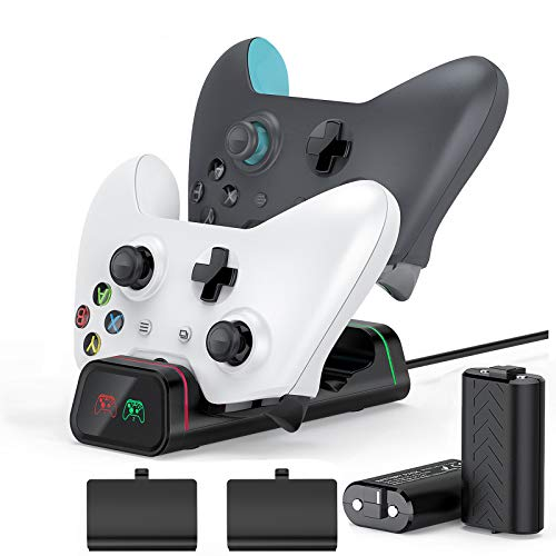 Xbox Controller Charging Station, Vivefox Xbox One Controller Charger with 2 x 1200mAh Rechargeable Battery Packs Compatible for Xbox One One X One S Xbox One Elite Wireless Controllers