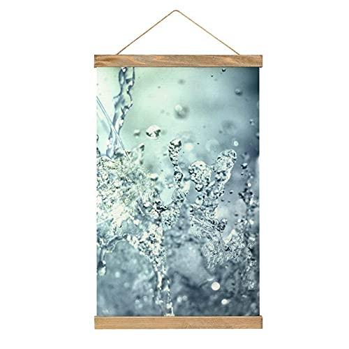 Lienzo colgante para pared de comedor, oficina, hotel, dormitorio, decoración del hogar, marco de madera, listo para colgar, 33 x 50 cm, para agua, vino, refresco, vaso de agua y bebida