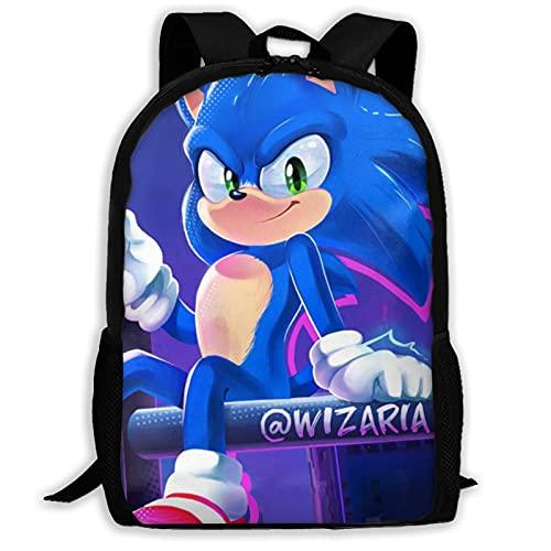 So-nic The Hedgehog Mochila ideal para niños y niñas, mochila versátil para hombres y mujeres, bolsa de hombro, gran cantidad de bolsa de almacenamiento para la escuela, viajes
