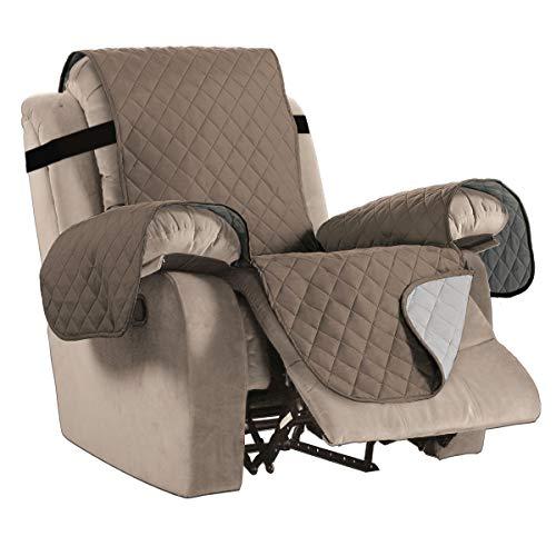 Home Fashion Reversible Acolchada Resistente al Agua Muebles Pantalla de Felpa, características Acogedor y eficiente, Suave y agamuzado (Silla: Burdeos/marrón) -75'x 65'-por H. Versailtex