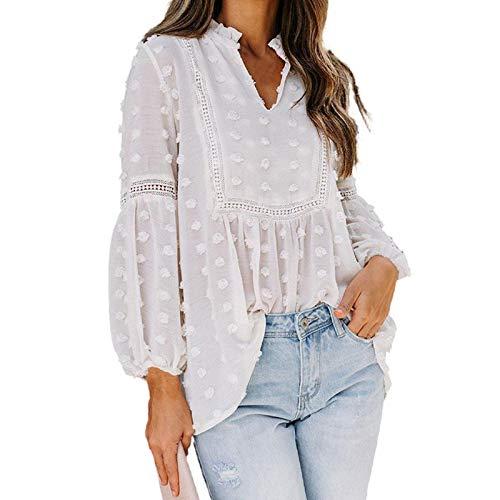 Camisas Blancas con Cuello En V para Mujer, Camisa Informal Elegante De Manga Larga Suelta para Mujer, Blusas De Encaje para Mujer para Otoño Primavera