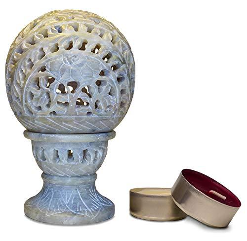 Runder Teelichthalter aus Speckstein, mit Ständer, inkl. 2 Duftkerzen, Design mit Blumenmotiven, handgefertigt, 12 x 8 cm