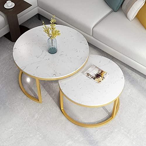 WSHFHDLC Mesa de café Mesas finales moderna mesa de nido alto brillo sofá mesa de centro redonda de metal mesa auxiliar muebles de salón conjunto de 2 pequeñas mesas de café