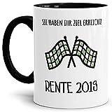 CCMugshop Taza de café de cerámica para jubilación con texto divertido en alemán 'Ziel Erreicht 2019' Rente Pension Abschieds divertido café regalo taza taza taza taza