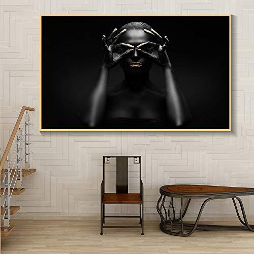 KWzEQ Rahmenlose Malerei Afrikanerin auf Leinwand Wandkunst minimalistisches Poster Wohnzimmer WohnkulturAY7075 60X80cm