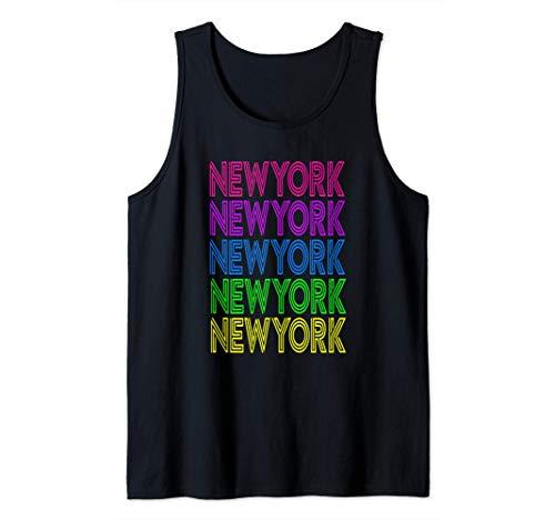 New York América Viaje Vacaciones Colorido Viaje de Verano Camiseta sin Mangas