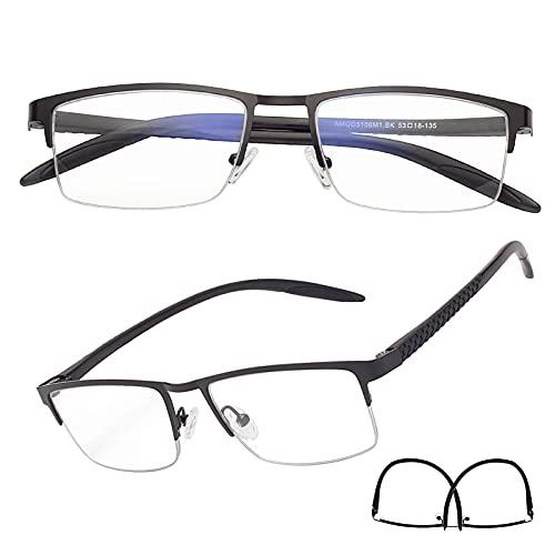 老眼鏡 軽いブルーライトカットメガネ ハーフリム ケース付き メンズ レディース おしゃれ リーディンググラス ブラック 度数+200 5106